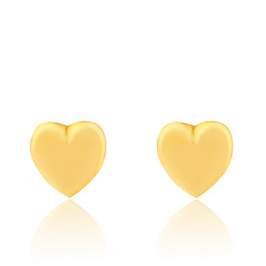 Boucles d'oreilles petit coeur, Or jaune 9 ou 18K - Bambins