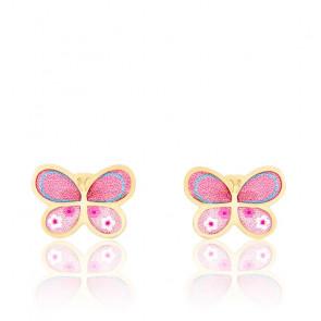 Boucles d'oreilles Papillon, Or jaune 9 ou 18K et émail - Bambins