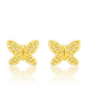 Boucles d'oreilles papillon ajouré, Or jaune 9 ou 18K - Bambins