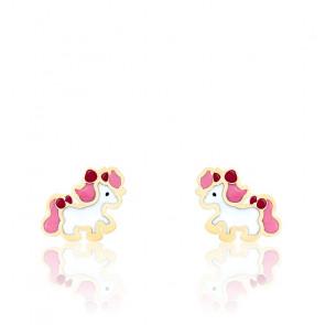 Boucles d'oreilles Poney, Or jaune 9 ou 18K et émail - Bambins