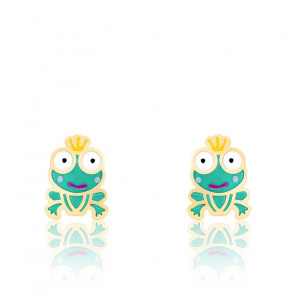 Boucles d'oreilles Grenouille, Email & Or jaune - Bambins