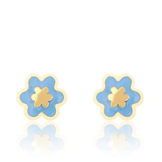 Boucles d'oreilles fleur bleue, Or jaune et émail - Bambins