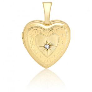 Pendentif photo cœur serti diamant, Or jaune 9k - Emanessence