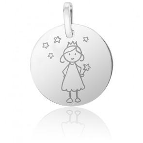 Médaille Fée étoilée, Or blanc 18K - Lucas Lucor
