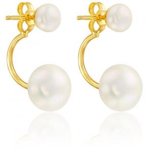 Boucles d'oreilles boutons perlés, Or jaune 9 ou 18K  - Emanessence
