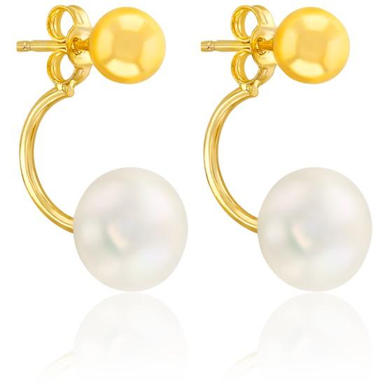 Boucles d'oreilles boutons, Or jaune 9 ou 18K et perle - Emanessence