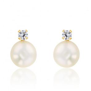 Puces d'oreilles, Or jaune 9 ou 18K et perles blanches - Emanessence