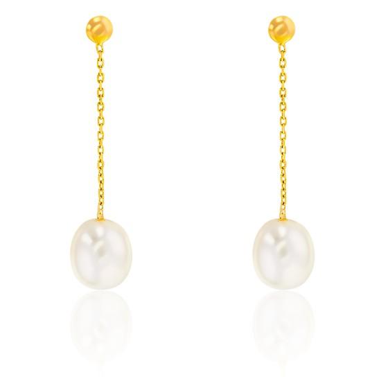 Pendant d'oreilles, Or jaune 9 ou 18K et perles blanches - Emanessence