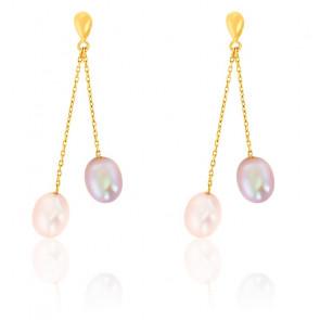 Boucles d'Oreilles duo perlé 7 mm, Or jaune 9 ou 18K - Emanessence