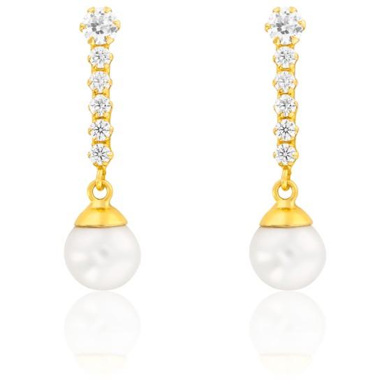 Boucles d'oreilles cascade, Or jaune 9 ou 18K et perles blanches - Emanessence