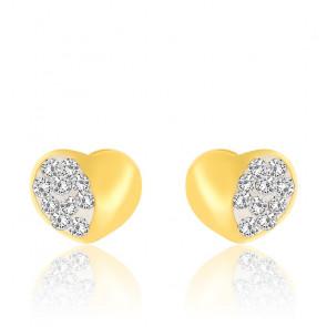Boucles d'oreilles Cœur, Or jaune 18K & Cristal - Emanessence