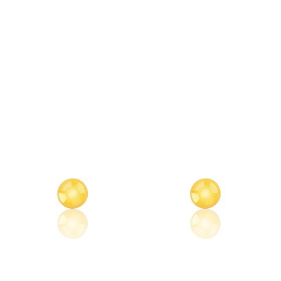 Puces d'oreilles boule, Or jaune 18 carats - Emanessence