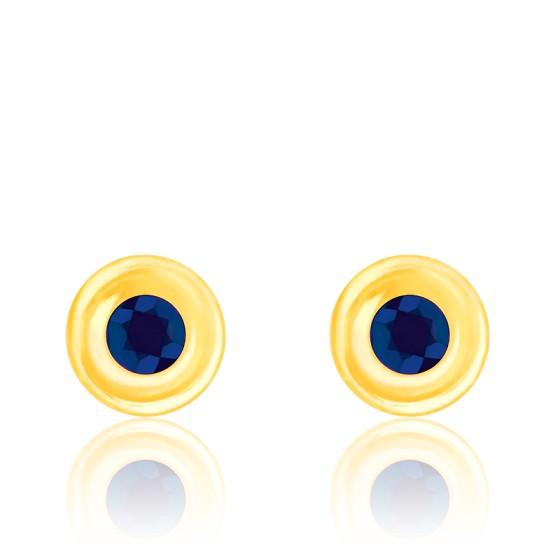 Puces d'oreilles saphir serti clos, Or jaune 18K - Emanessence