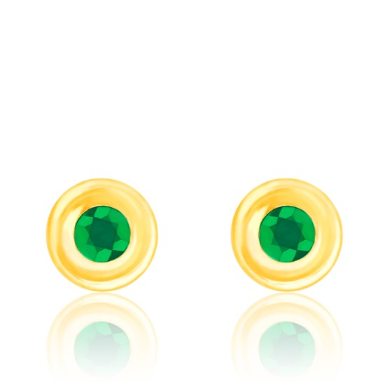 Puces d'oreilles émeraude serti clos, Or jaune 18K - Emanessence