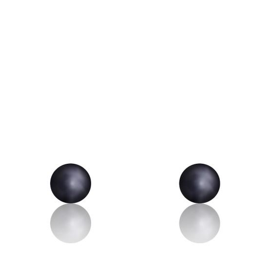 Puces d'oreilles perle de culture noire, Or jaune 18K - Emanessence