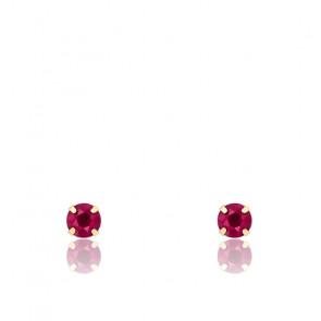 Boucles d'oreilles Rubis et Or jaune 18 carats - Emanessence