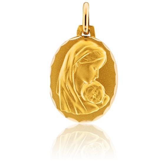 Médaille Vierge Maternité, ovale, Or jaune 18K - Augis