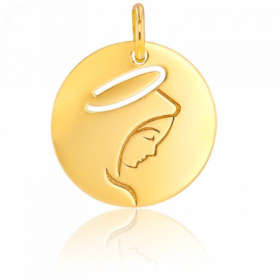 Médaille Vierge Marie auréolée ajourée, Or jaune 9 ou 18K - Rosatella