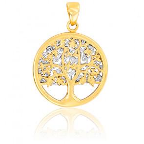 Médaille Arbre de Vie bicolore, Or jaune et blanc 9K - Rosatella