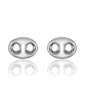 Boucles d'oreilles Grain de café, Or blanc 18 carats - Emanessence
