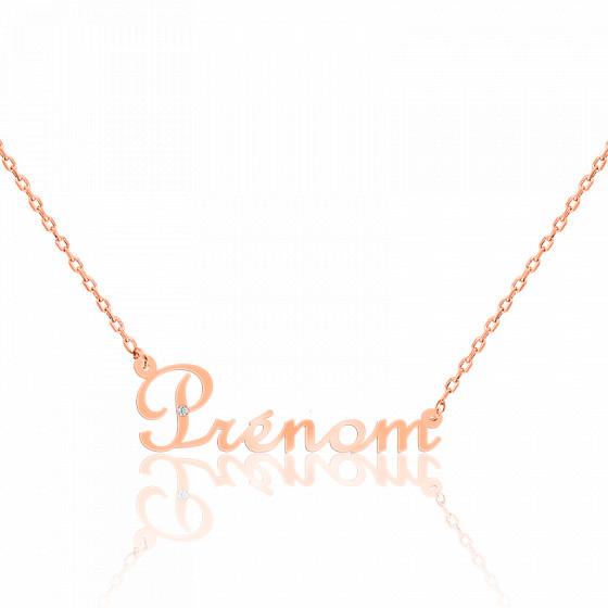 Collier prénom diamant 0,015 ct, Or Rose 18K - Rosatella