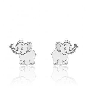 Boucles d'oreilles Eléphant, Or blanc 9K - Bambins