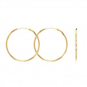 Boucles d'oreilles créoles fil 1,5 mm, Or jaune 9K - Rosatella