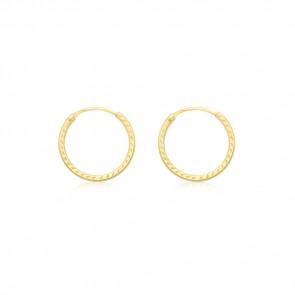 Boucles d'oreilles créoles ciselées, Or jaune 9K - Rosatella