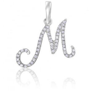 Pendentif lettre M, Or blanc 18K et diamants - Allegoria
