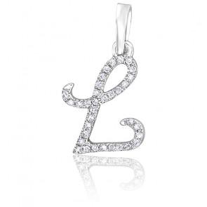 Pendentif lettre L, Or blanc 18K et diamants - Allegoria
