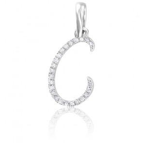 Pendentif lettre C, Or blanc 18K et diamants - Allegoria