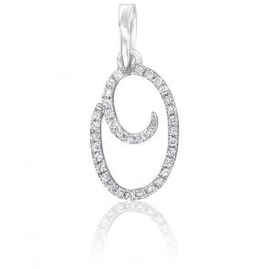 Pendentif lettre O, Or blanc 18K et diamants - Allegoria