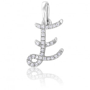 Pendentif lettre E, Or blanc 18K et diamants - Allegoria