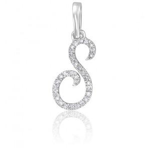 Pendentif lettre S, Or blanc 18K et diamants - Allegoria