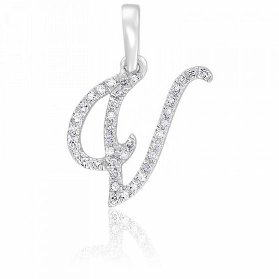 Pendentif lettre V, Or blanc 18K et diamants - Allegoria