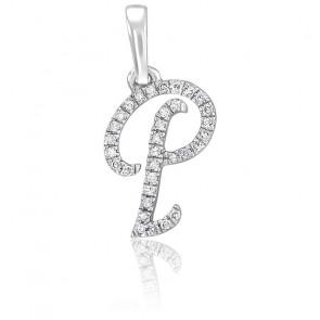 Pendentif lettre P, Or blanc 18K et diamants - Allegoria
