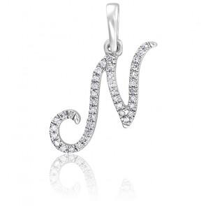 Pendentif lettre N, Or blanc 18K et diamants - Allegoria