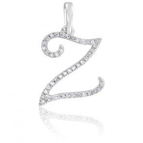 Pendentif lettre Z, Or blanc 18K et diamants - Allegoria