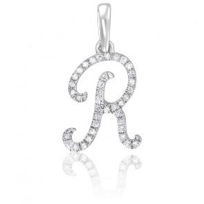 Pendentif lettre R, Or blanc 18K et diamants - Allegoria