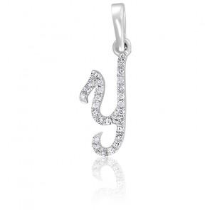 Pendentif lettre Y, Or blanc 18K et diamants - Allegoria