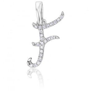 Pendentif lettre F, Or blanc 18K et diamants - Allegoria
