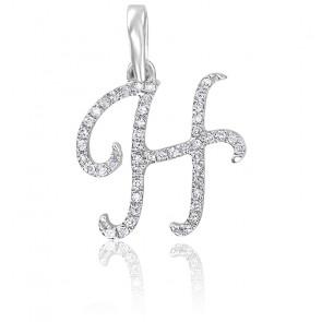 Pendentif lettre H, Or blanc 18K et diamants - Allegoria