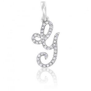 Pendentif lettre G, Or blanc 18K et diamants - Allegoria