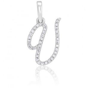 Pendentif lettre U, Or blanc 18K et diamants - Allegoria