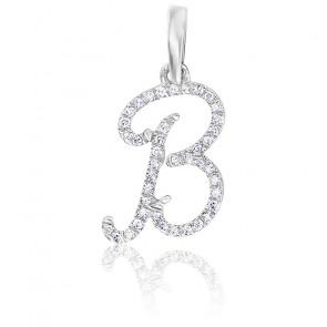 Pendentif lettre B, Or blanc 18K et diamants - Allegoria