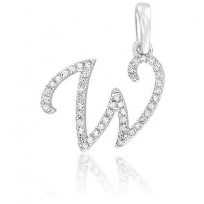 Pendentif lettre W, Or blanc 18K et diamants - Allegoria