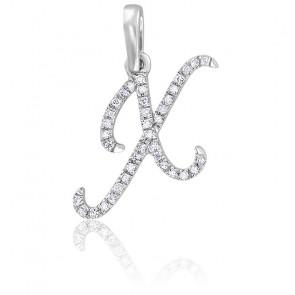 Pendentif lettre X, Or blanc 18K et diamants - Allegoria