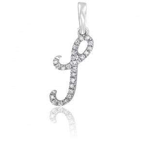 Pendentif lettre I, Or blanc 18K et diamants - Allegoria