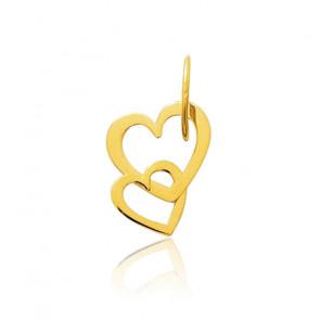 Pendentif coeurs enlacés, Or jaune 9 ou 18K - Emanessence