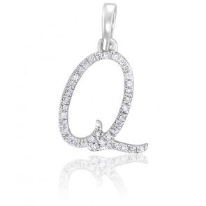 Pendentif lettre Q, Or blanc 18K et diamants - Allegoria